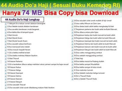 Download Audio Do'a Haji Lengkap Hapalan Bacaan awal sampai akhir